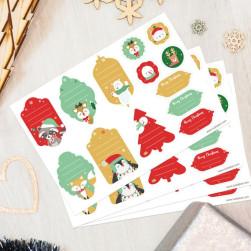 Etiquetas regalos de Navidad - Animales Verdes y Rojos