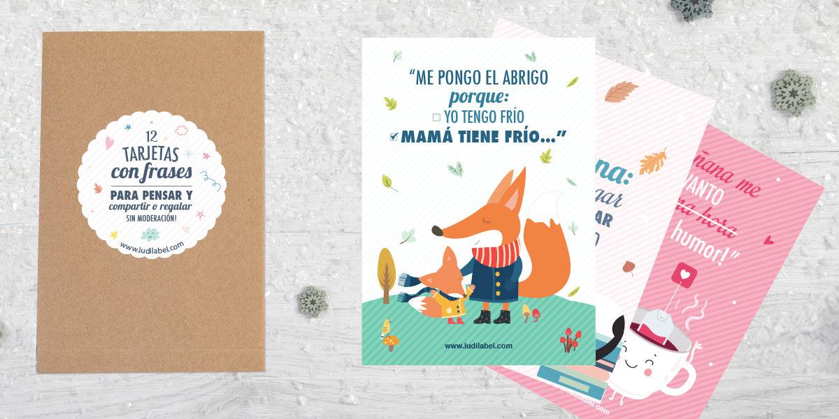 Tarjetas ilustradas con frases