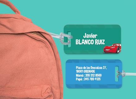 Etiqueta Cars para maleta plástico reforzado ultra resistente