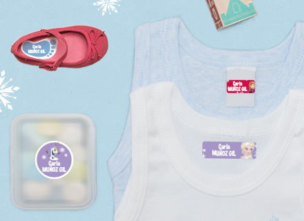 Etiquetas adhesivas y thermoadhesivas Frozen guardería