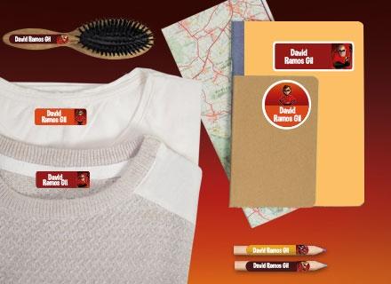 Etiquetas ropa y material para campamento de Los Increìbles 2