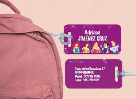 Etiqueta Princesas Disney para maleta plástico reforzado ultra resistente