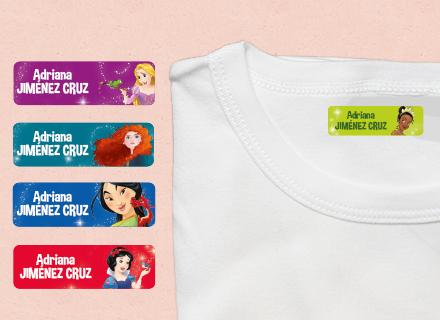 Etiquetas termoadhesivas ropa Princesas Disney