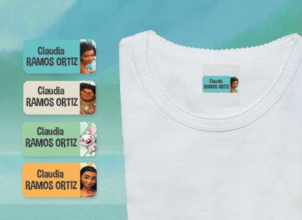 Des étiquettes Vaiana à poser sans fer sur un t-shirt