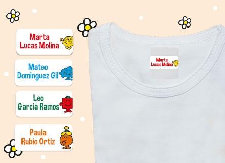 Etiquetas adhesivas con nombre para ropa de Little Miss Mister Men