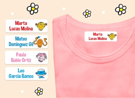 Etiquetas con nombre para ropa de Little Miss Mister Men