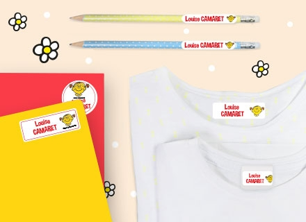 Etiquetas adhesivas con nombre para material escolar de Little Miss Mister Men
