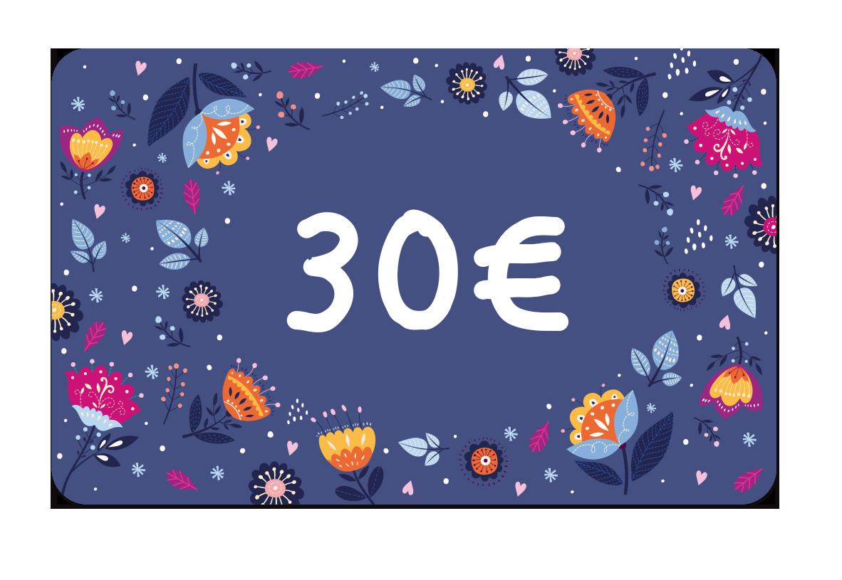La carte cadeau à 30 euros de Ludilabel pour offrir des produits personnalisées avec le nom de l'enfant au parent