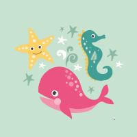 Estrella de mar, ballena, caballito de mar