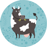 Gallina, cerdo, oveja, vaca