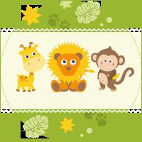 león, mono y jirafa