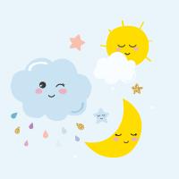 Nube, luna y sol