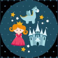 Pequeña princesa y dragón