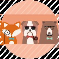 Trio de animales hipster
