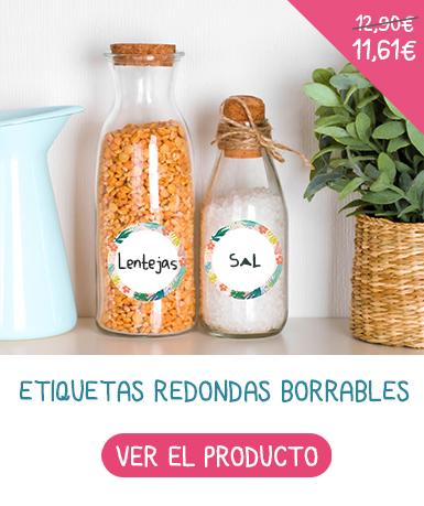 Etiquetas redondas reescribibles podrás anotar el contenido de los potitos de tu bebé hechos en casa.