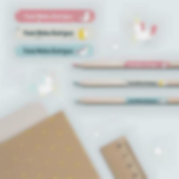 3 pack etiquetas colegio material escolar unicornio