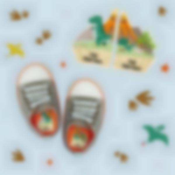 etiquetas intuitivas para zapatos dinosaurio