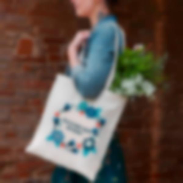 tote bag shopper bag de tela corona de flores 2 1
