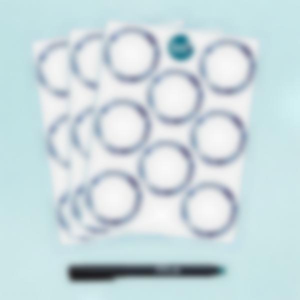 Etiquetas blancas redondas borrables x 24 - Azulejos