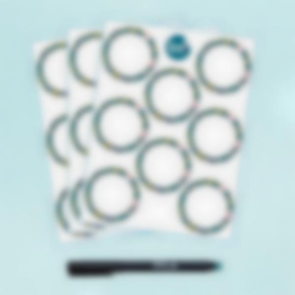 Etiquetas blancas redondas borrables x 24 - Flowers