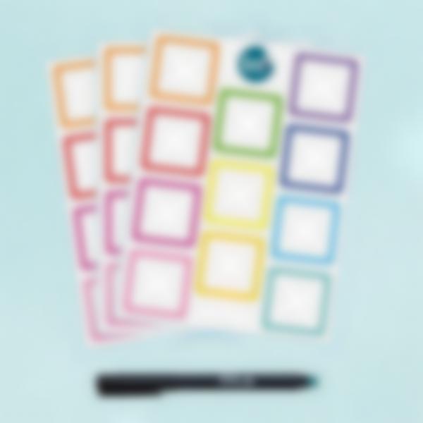 Etiquetas blancas cuadradas borrables x 33 - Arco iris