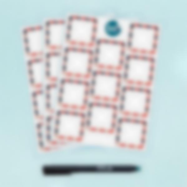Etiquetas blancas cuadradas borrables x 33 - Nina