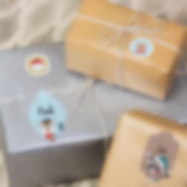 Etiquetas para personalizar los regalos de Navidad - Animales Dorados y Azules
