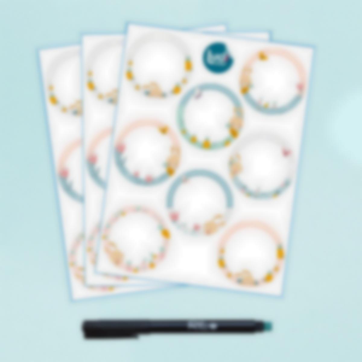 Etiquetas blancas redondas borrables x 24 - Conejo