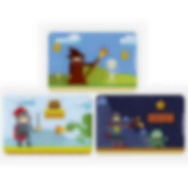 Lote adicional de 3 tarjetas magnéticas para la fiambrera Ludibox - Juegos Retro