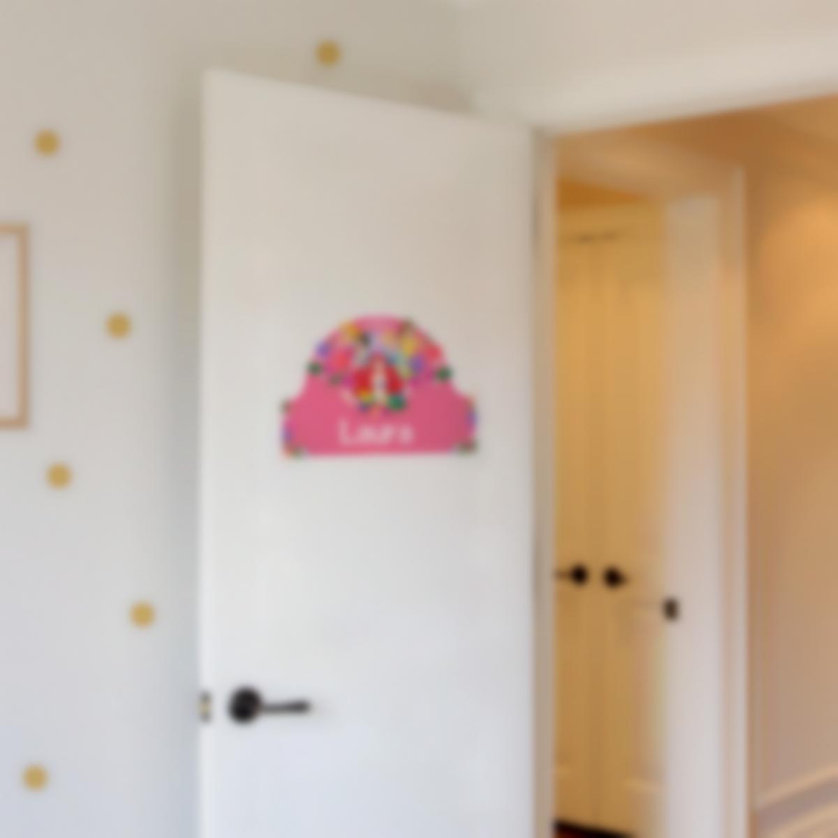 Placa Infantil adhesiva para puertas - Disney Princesas Flores