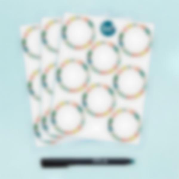 Etiquetas blancas redondas borrables x 24 - Tropical