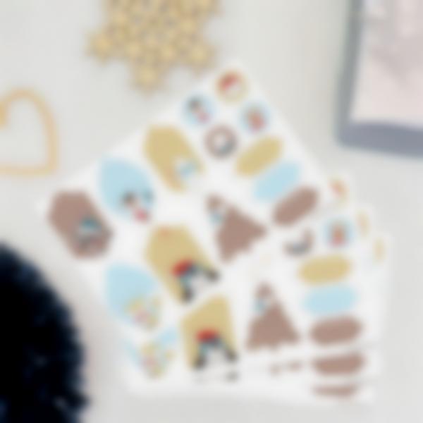 Etiquetas regalos de Navidad - Animales Dorados y Azules