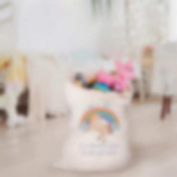 Saco para juguetes de tejido ilustrado y personalizado