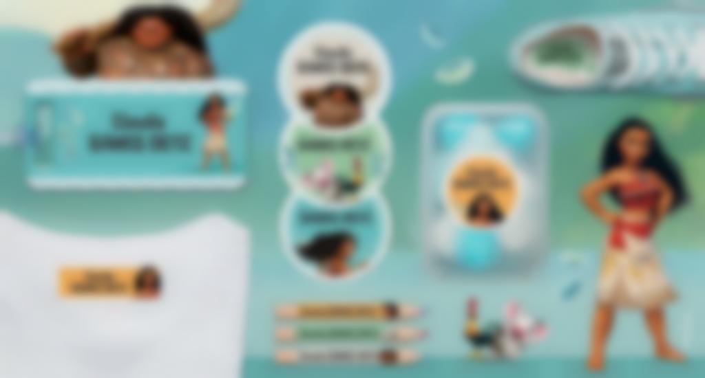 Le etichette personalizzate di Vaiana da Oceania