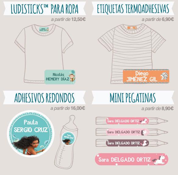 Diferentes tamaños de etiquetas personalizadas (pegatinas, termoadhesivas, redondas, mini…) para marcar ropa y objetos con el nombre.