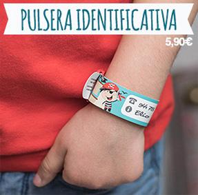 Pulsera de identificación y de seguridad para escribir los datos de los padres si el niño se pierde